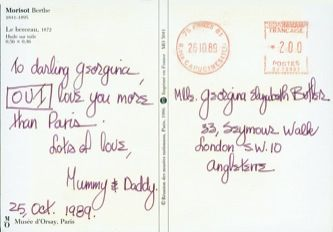 James Jennifer Georgina – Postcard stamped on Thursday, October 26, 1989