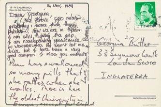 James Jennifer Georgina – Postcard stamped on Thursday, November 16, 1989