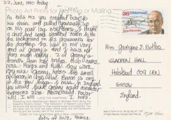 James Jennifer Georgina – Postcard stamped on Friday, June 22, 1990