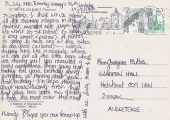 James Jennifer Georgina – Postcard stamped on Tuesday, July 31, 1990