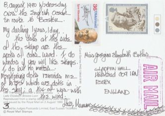 James Jennifer Georgina – Postcard stamped on Wednesday, August 8, 1990