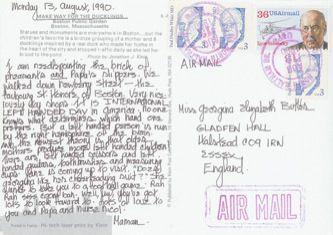 James Jennifer Georgina – Postcard stamped on Monday, August 13, 1990