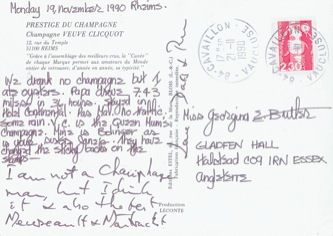 James Jennifer Georgina – Postcard stamped on Monday, November 19, 1990