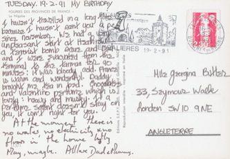 James Jennifer Georgina – Postcard stamped on Tuesday, February 19, 1991