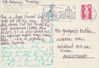 James Jennifer Georgina – Postcard stamped on Wednesday, February 20, 1991