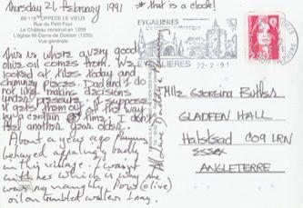 James Jennifer Georgina – Postcard stamped on Thursday, February 21, 1991