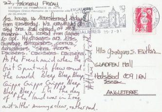 James Jennifer Georgina – Postcard stamped on Friday, February 22, 1991