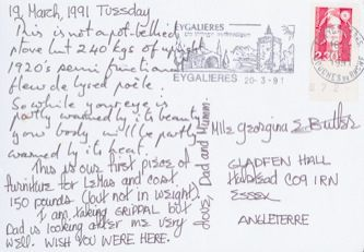 James Jennifer Georgina – Postcard stamped on Tuesday, March 19, 1991