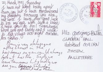James Jennifer Georgina – Postcard stamped on Thursday, March 21, 1991