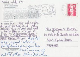 James Jennifer Georgina – Postcard stamped on Monday, July 1, 1991