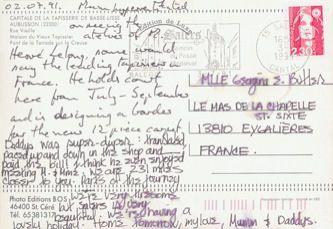 James Jennifer Georgina – Postcard stamped on Tuesday, July 2, 1991