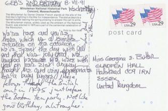 James Jennifer Georgina – Postcard stamped on Monday, July 8, 1991