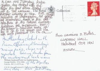 James Jennifer Georgina – Postcard stamped on Tuesday, December 3, 1991