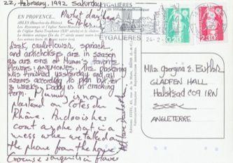 James Jennifer Georgina – Postcard stamped on Saturday, February 22, 1992