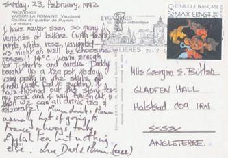 James Jennifer Georgina – Postcard stamped on Sunday, February 23, 1992