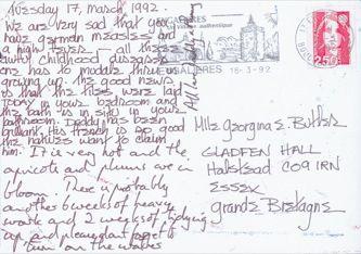 James Jennifer Georgina – Postcard stamped on Tuesday, March 17, 1992
