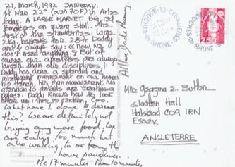 James Jennifer Georgina – Postcard stamped on Saturday, March 21, 1992