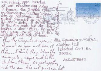 James Jennifer Georgina – Postcard stamped on Sunday, March 22, 1992