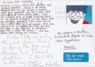 James Jennifer Georgina – Postcard stamped on Saturday, June 13, 1992