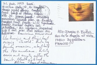 James Jennifer Georgina – Postcard stamped on Monday, June 21, 1993