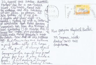 James Jennifer Georgina – Postcard stamped on Sunday, August 22, 1993