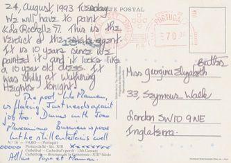 James Jennifer Georgina – Postcard stamped on Tuesday, August 24, 1993