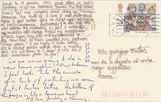 James Jennifer Georgina – Postcard stamped on Thursday, January 19, 1995