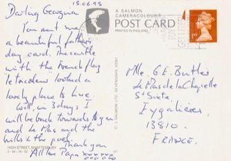 James Jennifer Georgina – Postcard stamped on Thursday, June 15, 1995