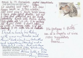 James Jennifer Georgina – Postcard stamped on Wednesday, December 13, 1995