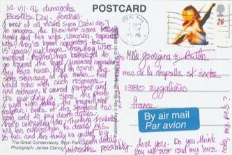 James Jennifer Georgina – Postcard stamped on Sunday, July 14, 1996