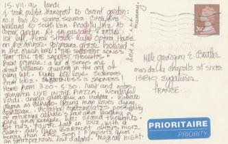 James Jennifer Georgina – Postcard stamped on Monday, July 15, 1996