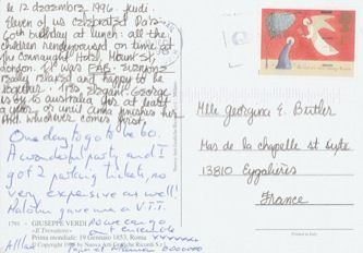 James Jennifer Georgina – Postcard stamped on Thursday, December 12, 1996