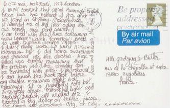 James Jennifer Georgina – Postcard stamped on Wednesday, May 7, 1997