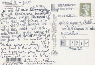 James Jennifer Georgina – Postcard stamped on Saturday, July 12, 1997