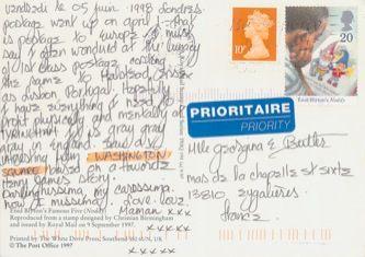 James Jennifer Georgina – Postcard stamped on Friday, June 5, 1998
