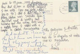 James Jennifer Georgina – Postcard stamped on Friday, June 11, 1999