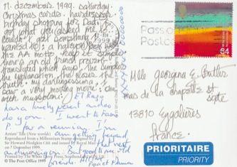 James Jennifer Georgina – Postcard stamped on Saturday, December 11, 1999